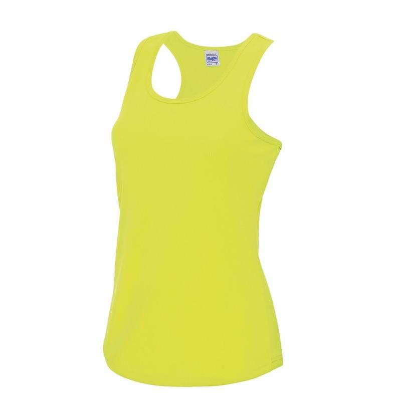 Sportkleding sneldrogend neon geel dames hemd