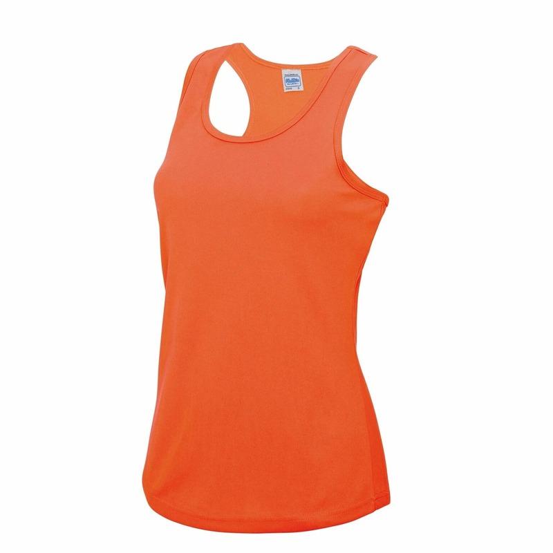 Sportkleding sneldrogend neon oranje dames hemd