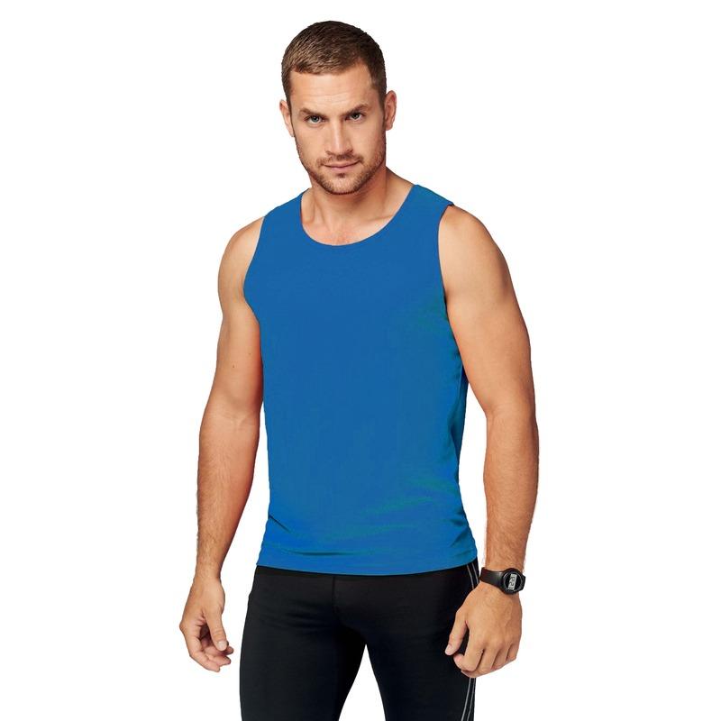 Sportkleding sneldrogend blauw singlet voor heren