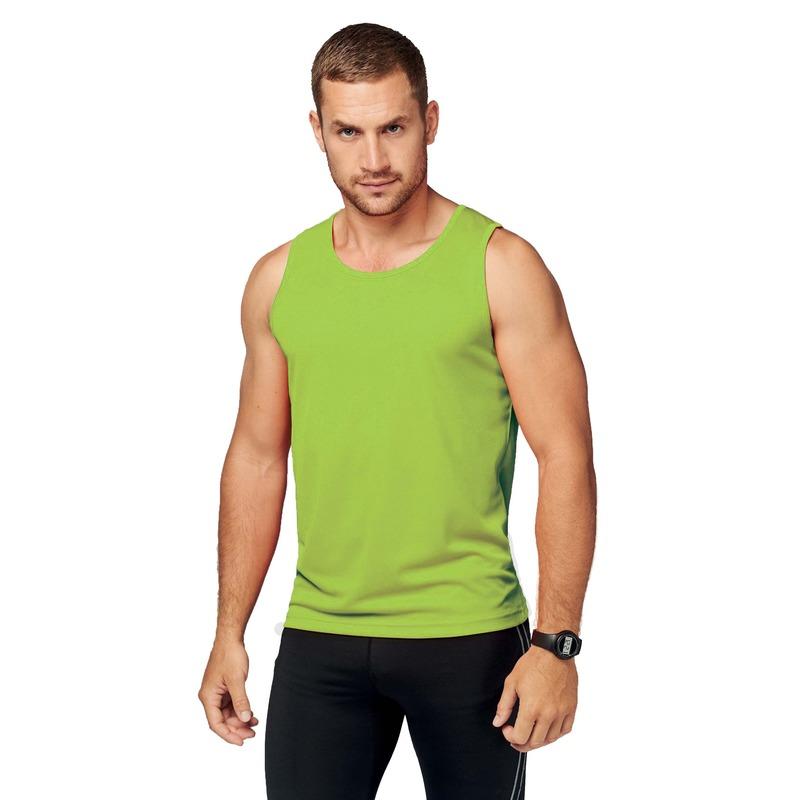 Sportkleding sneldrogend lime groene singlet voor heren