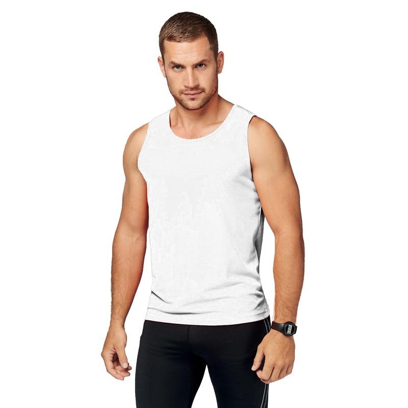 Sportkleding sneldrogend witte singlet voor heren