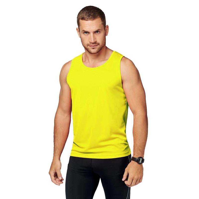Sportkleding sneldrogend fluor gele singlet voor heren
