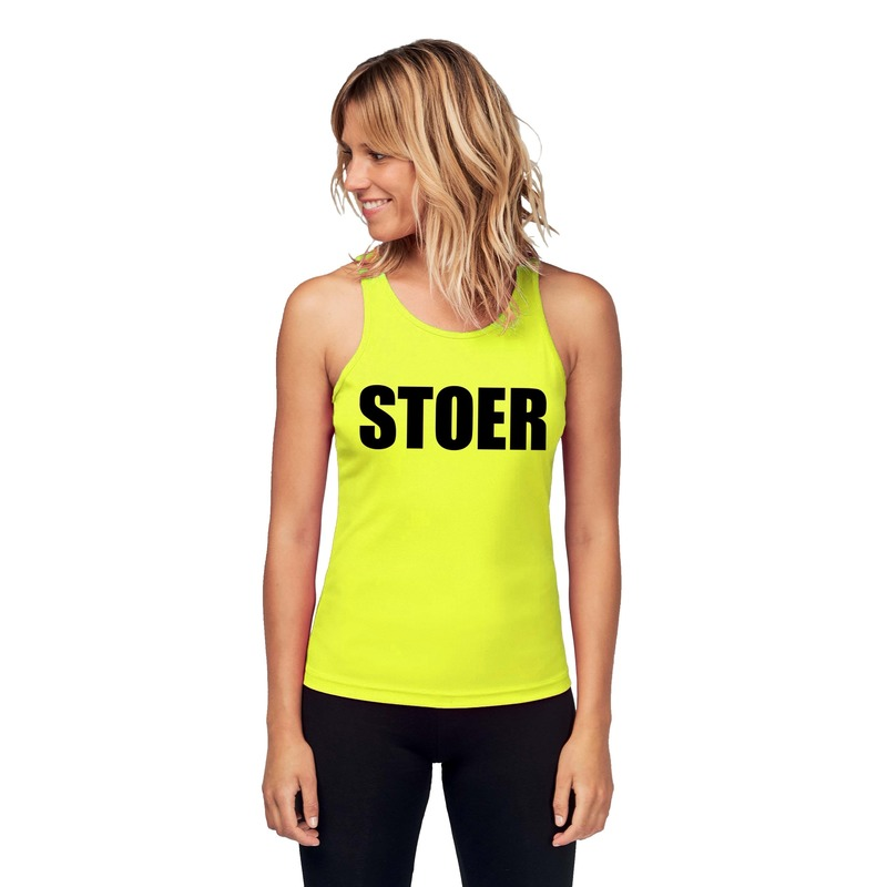 Sport shirt met tekst stoer neon geel dames