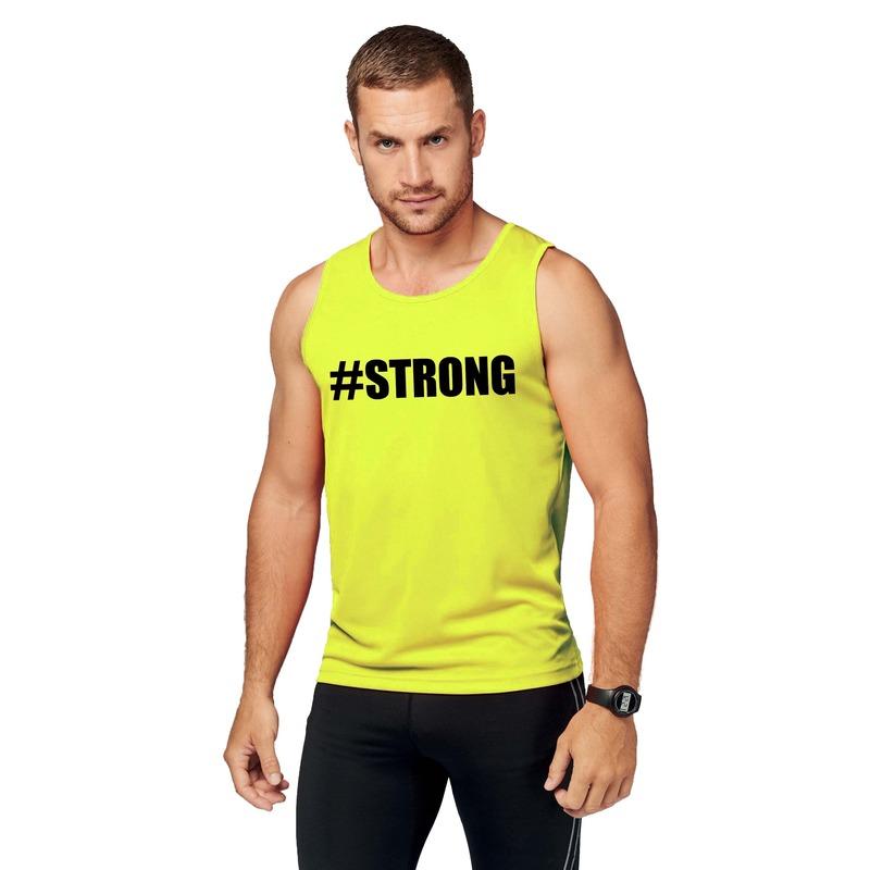 Sport shirt met tekst strong neon geel heren