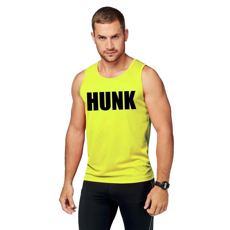 Sport shirt met tekst hunk neon geel heren