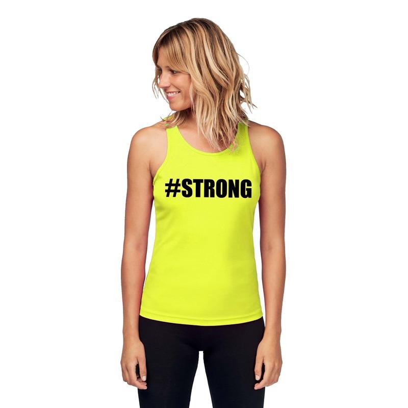 Sport shirt met tekst strong neon geel dames