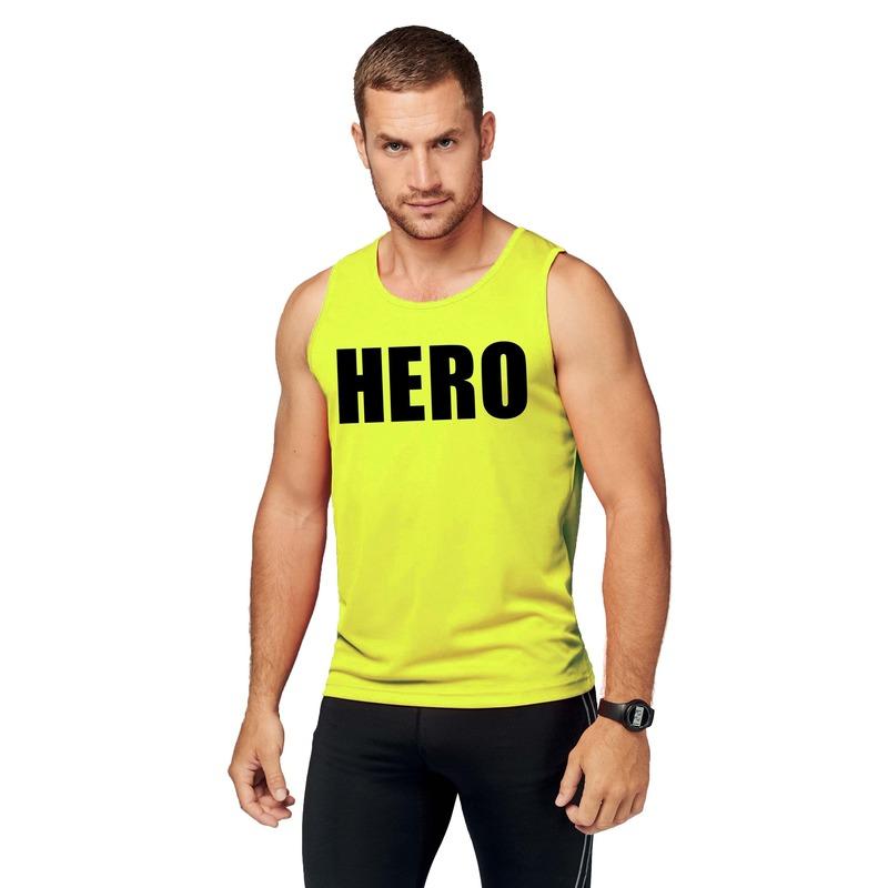 Sport shirt met tekst hero neon geel heren