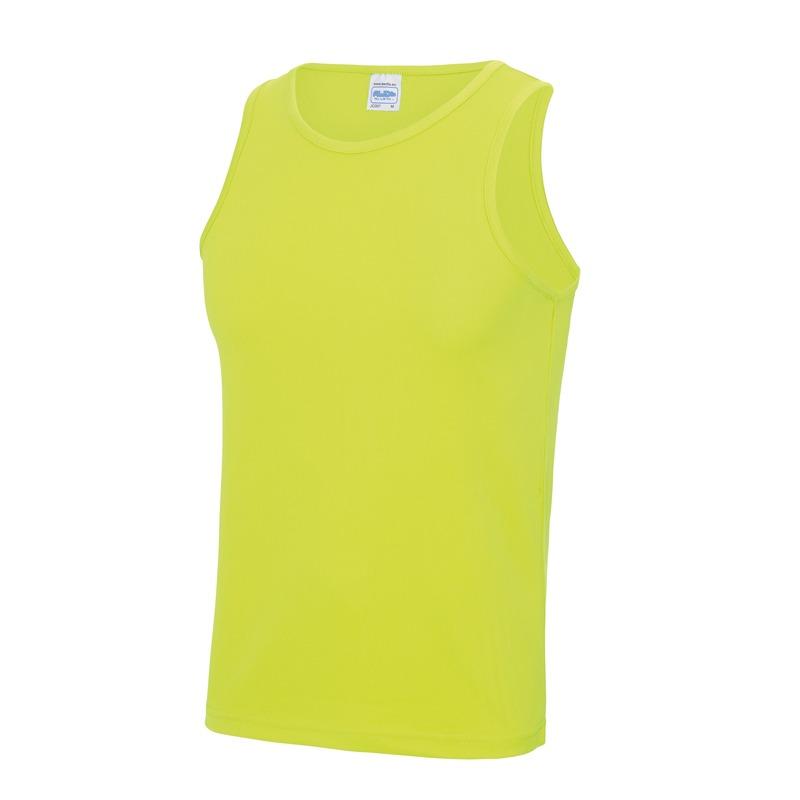 Sportkleding sneldrogende mouwloze shirts neon geel voor mannen heren