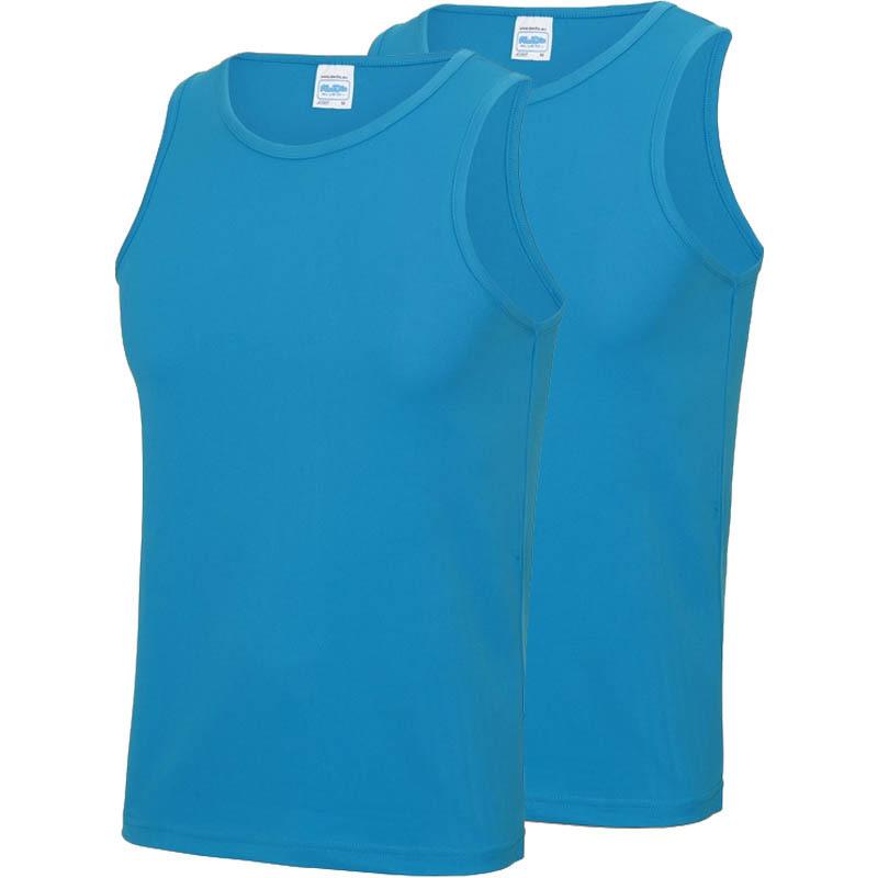 Multipack 2x maat m - sportkleding sneldrogende mouwloze shirts blauw voor mannen/heren