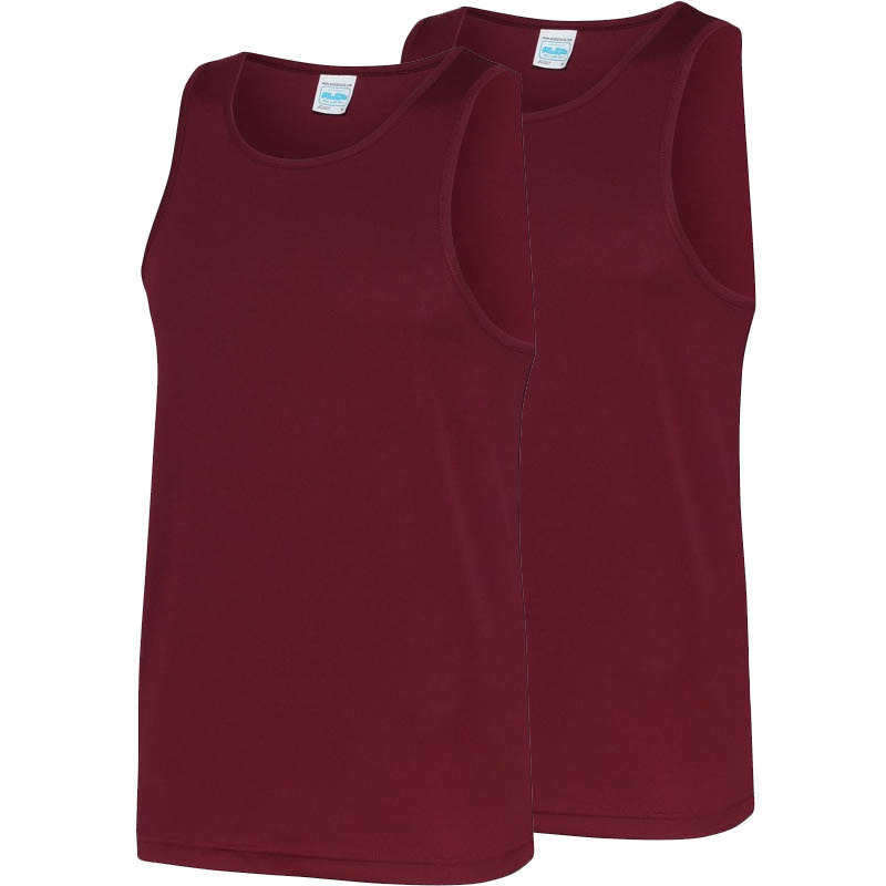 Multipack 2x maat m sportkleding sneldrogende mouwloze shirts bordeauxrood voor mannen heren