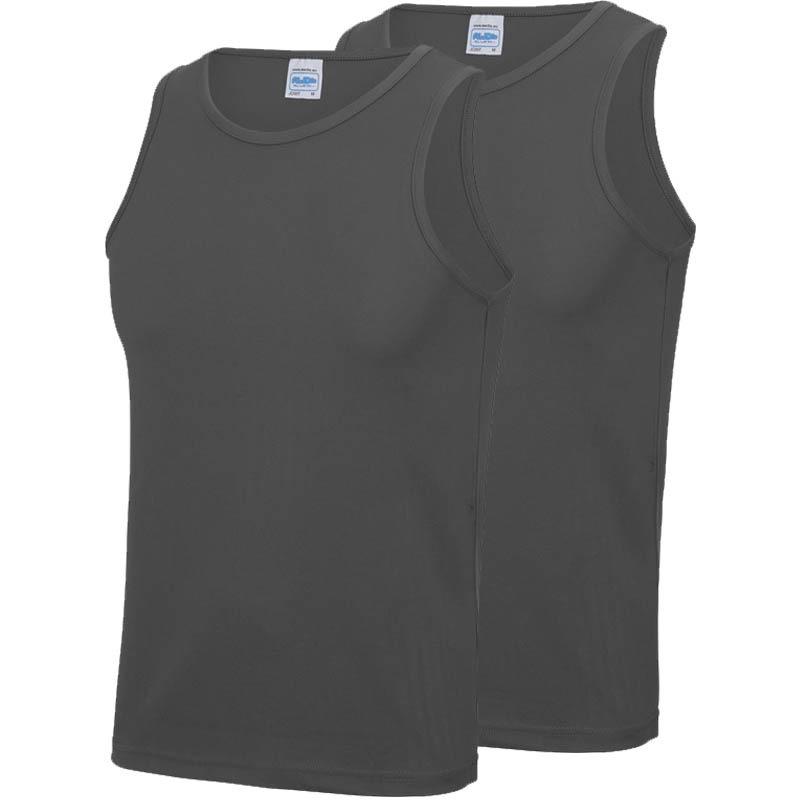 Multipack 2x maat m sportkleding sneldrogende mouwloze shirts grijs voor mannen heren