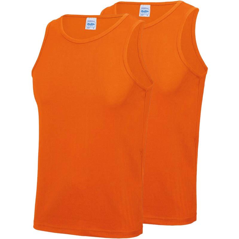 Multipack 2x maat m sportkleding sneldrogende mouwloze shirts oranje voor mannen heren