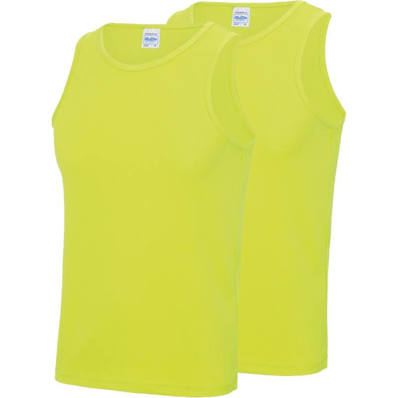 Multipack 2x maat s - sportkleding sneldrogende mouwloze shirts neon geel voor mannen/heren