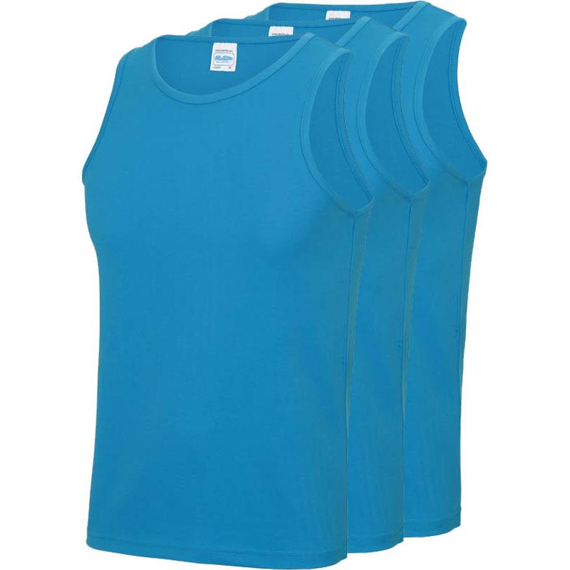Multipack 3x maat m - sportkleding sneldrogende mouwloze shirts blauw voor mannen/heren