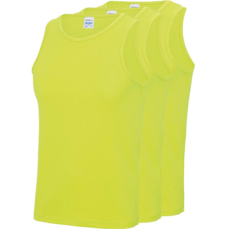 Multipack 3x maat m sportkleding sneldrogende mouwloze shirts neon geel voor mannen heren