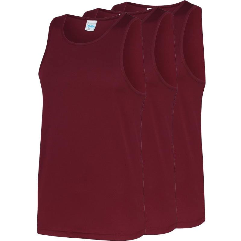 Multipack 3x maat xl sportkleding sneldrogende mouwloze shirts bordeauxrood voor mannen heren