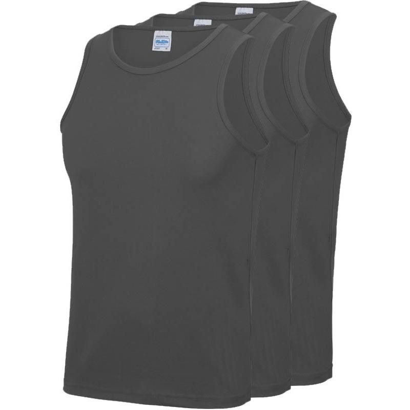 Multipack 3x maat xl sportkleding sneldrogende mouwloze shirts grijs voor mannen heren