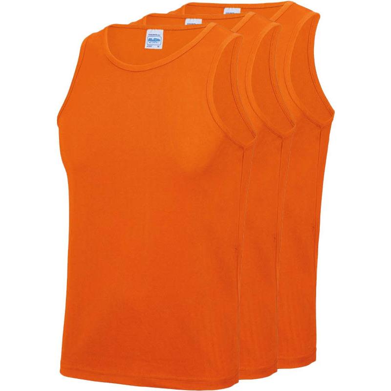 Multipack 3x maat xl sportkleding sneldrogende mouwloze shirts oranje voor mannen heren